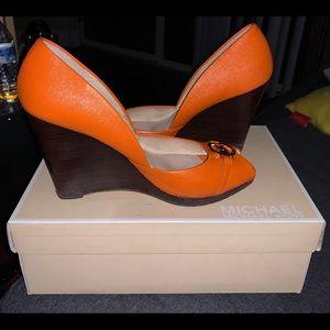 Michael Kors d'orsay peep toe wedge heels